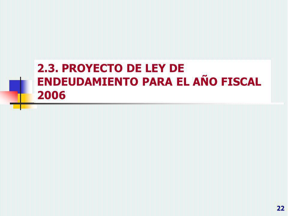 2.3. PROYECTO DE LEY DE ENDEUDAMIENTO PARA EL AÑO FISCAL 2006 22