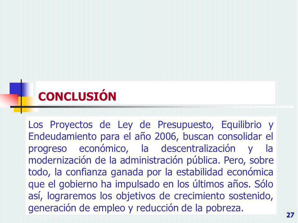 CONCLUSIÓN 27 Los Proyectos de Ley de Presupuesto, Equilibrio y Endeudamiento para el año 2006, buscan consolidar el progreso económico, la descentral