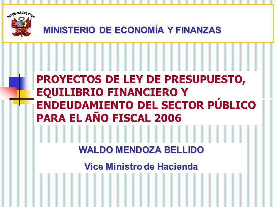 PROYECTOS DE LEY DE PRESUPUESTO, EQUILIBRIO FINANCIERO Y ENDEUDAMIENTO DEL SECTOR PÚBLICO PARA EL AÑO FISCAL 2006 WALDO MENDOZA BELLIDO Vice Ministro