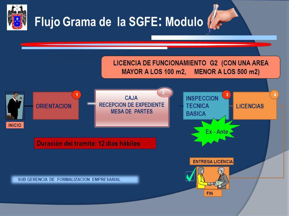 Flujo Grama de la SGFE : Modulo LICENCIA DE FUNCIONAMIENTO G2 (CON UNA AREA MAYOR A LOS 100 m2, MENOR A LOS 500 m2) INICIO ORIENTACION 1 INSPECCION TE