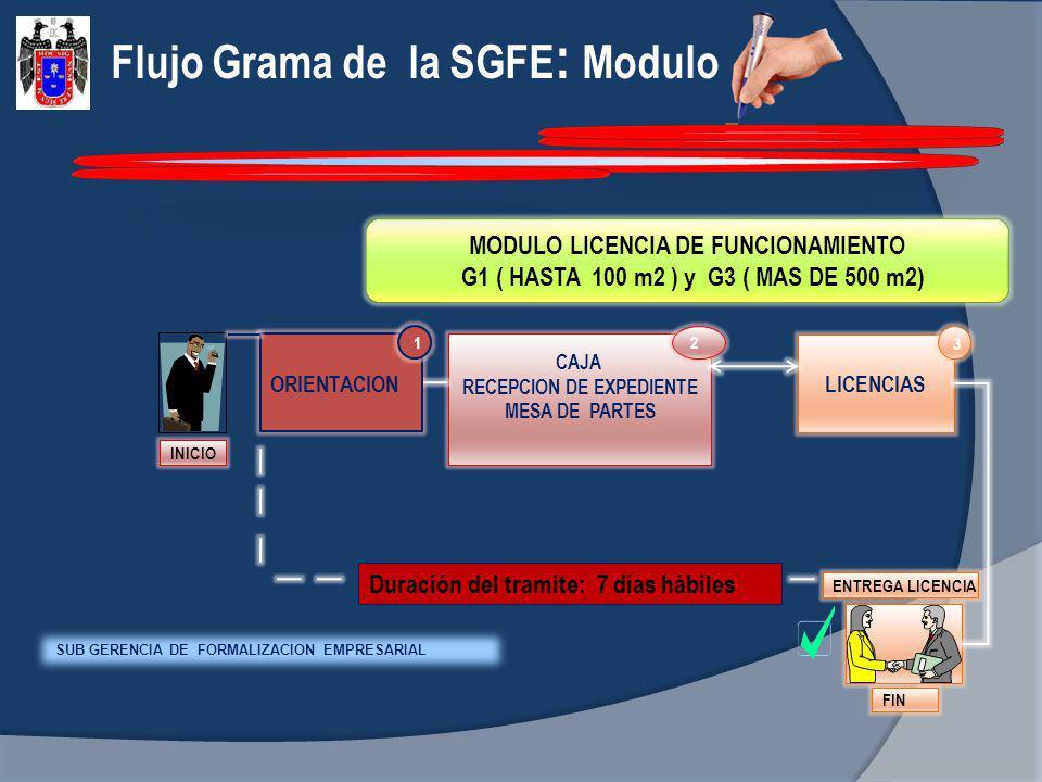 Flujo Grama de la SGFE : Modulo MODULO LICENCIA DE FUNCIONAMIENTO G1 ( HASTA 100 m2 ) y G3 ( MAS DE 500 m2) INICIO CAJA RECEPCION DE EXPEDIENTE MESA D