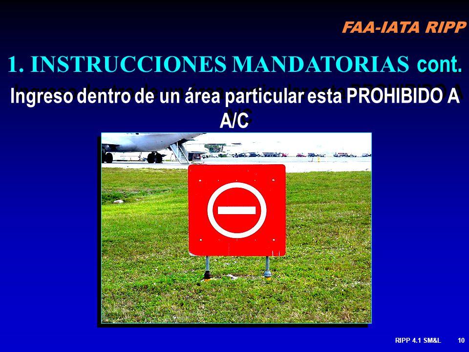 FAA-IATA RIPP RIPP 4.1 SM&L9 Espera de área de aproximación de Pista Mantenga solo cuando instruido o autorizado por ATC (app. a pista 14L o salida. d