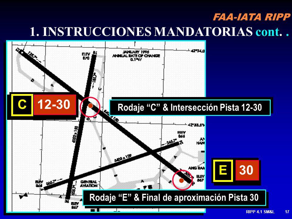 FAA-IATA RIPP RIPP 4.1 SM&L16 Flechas se usan cuando hay mas de dos pistas cont. 1.INSTRUCCIONES MANDATORIAS cont. MANTENGA a no ser que sea autorizad