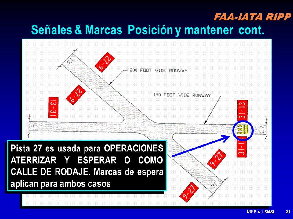 FAA-IATA RIPP RIPP 4.1 SM&L20 36-18 Tráfico Aterrizando Tráfico Saliendo Pista 30 usada para LAHSO 36-18 30 Posición de espera Pista / Pista. cont 1.