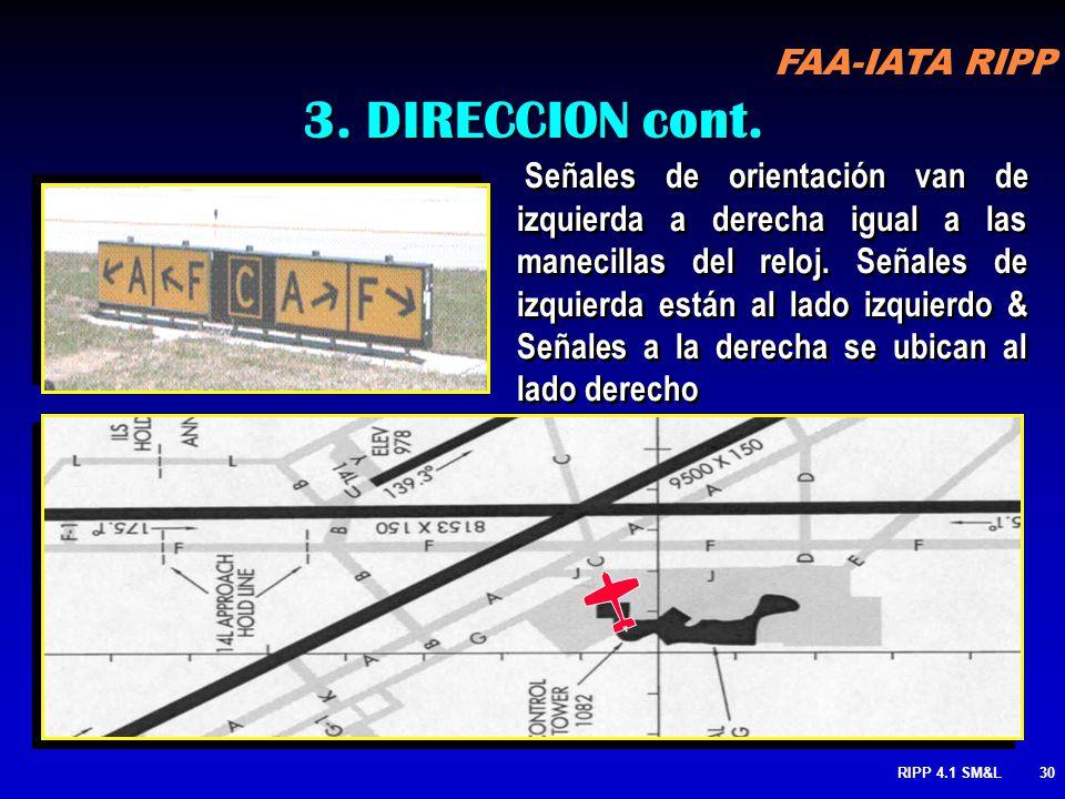 FAA-IATA RIPP RIPP 4.1 SM&L29 3. ARREGLO DE SEÑALES DE DIRECCION Usado para determinar instrucciones de dirección hacia múltiples rodajes que se encue