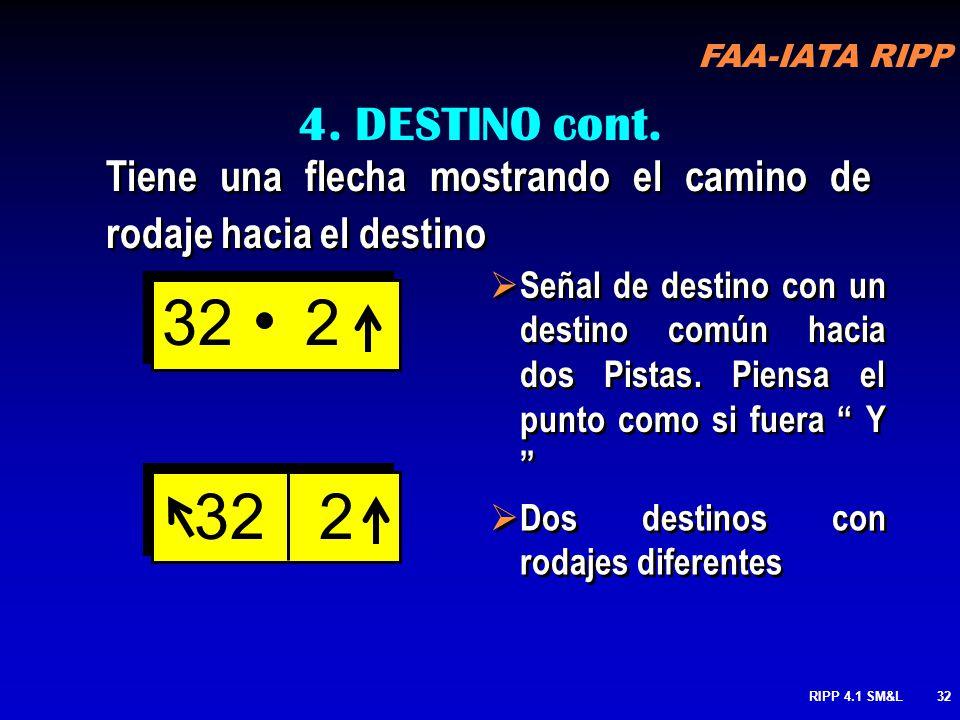 FAA-IATA RIPP RIPP 4.1 SM&L31 4. DESTINO SEÑALES AMARILLAS-LETRAS NEGRAS Recuerda: SEÑALES AMARILLAS,- CONJUNTO DE SEÑALES AMARILLAS INDICA EL CAMINO!