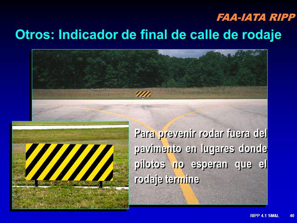 FAA-IATA RIPP RIPP 4.1 SM&L39 Puede estar instalado a lo largo de la pista e un o los dos lados de la Pista 6. DISTANCIA REMANENTE DE PISTA cont.