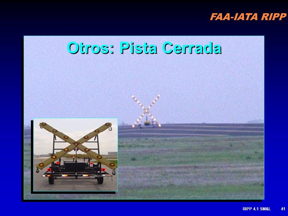 FAA-IATA RIPP RIPP 4.1 SM&L40 Otros: Indicador de final de calle de rodaje Para prevenir rodar fuera del pavimento en lugares donde pilotos no esperan