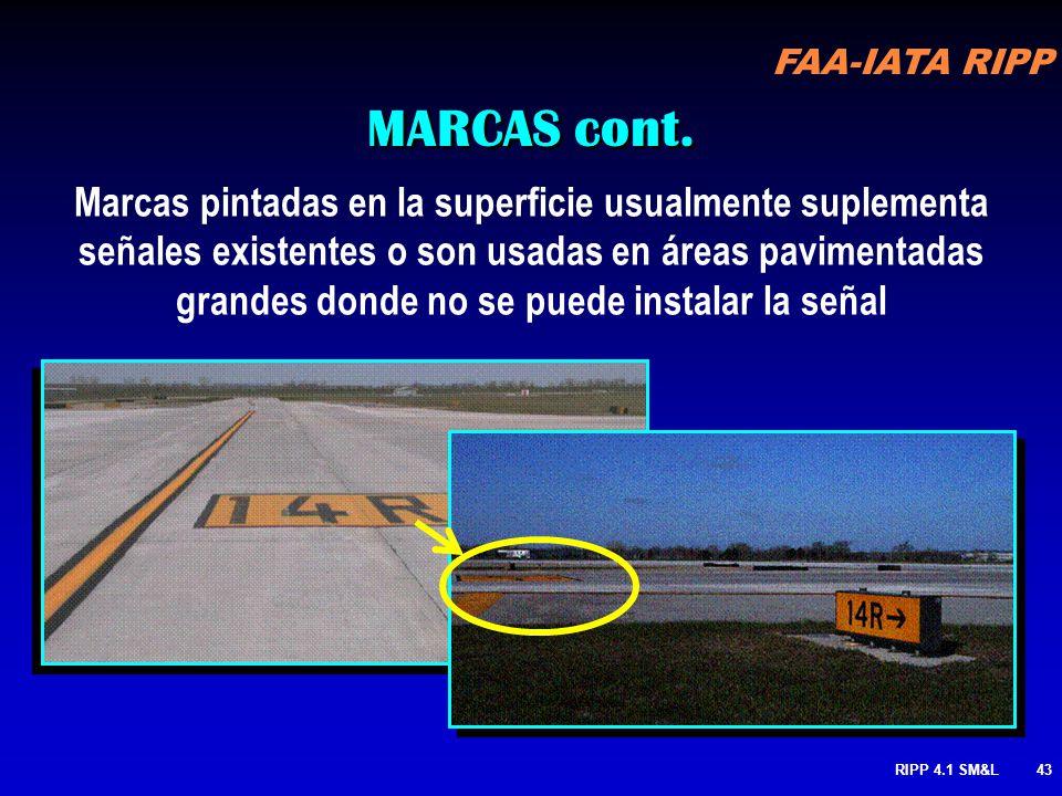 FAA-IATA RIPP RIPP 4.1 SM&L42 MARCAS 1.Punto de Espera 2.Área Critica ILS 3.Punto de Espera Rodaje / Rodaje 4.Limite del Área de Movimiento 5.Rodaje /
