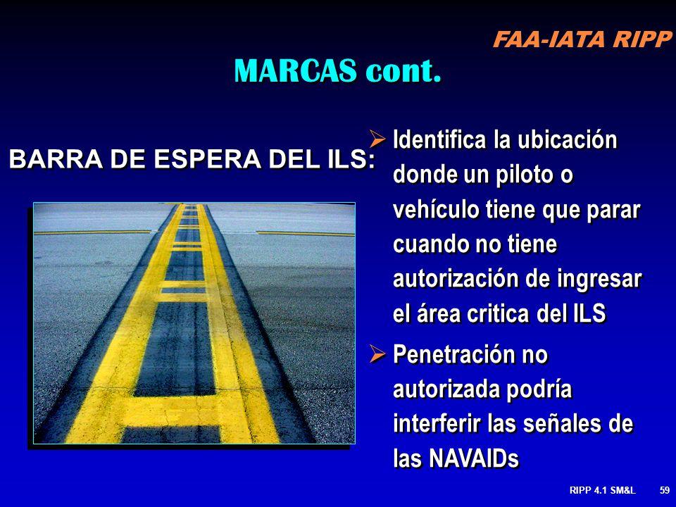 FAA-IATA RIPP RIPP 4.1 SM&L58 En algunos aeropuertos podría ser necesario mantener un A/C en una ubicación fuera de la entrada de la pista si el ILS e