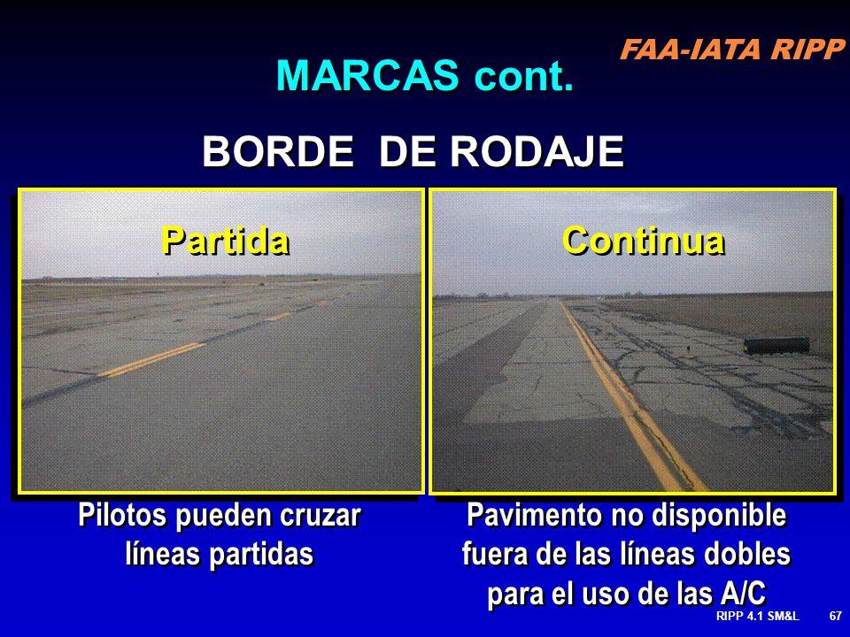 FAA-IATA RIPP RIPP 4.1 SM&L66 BORDES DE CALLES DE RODAJE: Delinean el borde de la calle dse rodaje, primariamente cuando el borde no corresponden los
