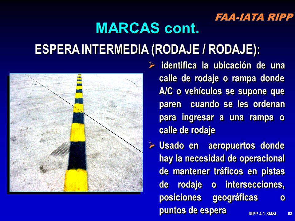 FAA-IATA RIPP RIPP 4.1 SM&L67 Partida Pilotos pueden cruzar líneas partidas Pavimento no disponible fuera de las líneas dobles para el uso de las A/C
