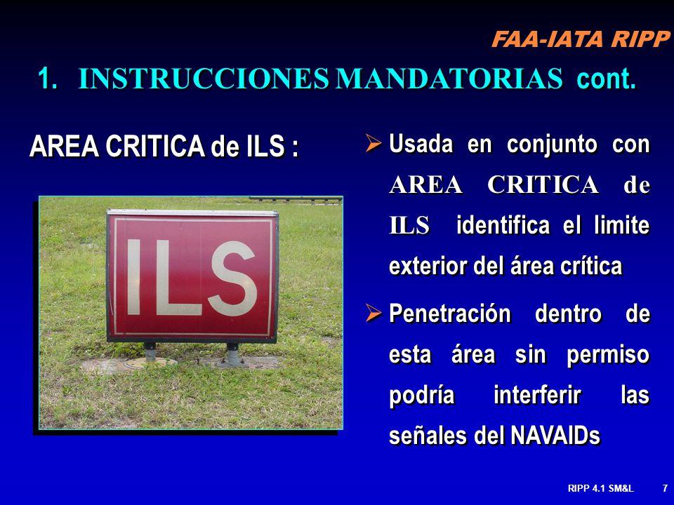 FAA-IATA RIPP RIPP 4.1 SM&L47 BARRA DE ESPERA DE PISTA Usado para identificar la ubicación donde el piloto o vehículo tiene que detenerse cuando no cuenta con autorización de ingreso a la pista Nunca cruces sin autorización Mantengase al lado sólido de la Línea Usado para identificar la ubicación donde el piloto o vehículo tiene que detenerse cuando no cuenta con autorización de ingreso a la pista Nunca cruces sin autorización Mantengase al lado sólido de la Línea Espera aquí MARKINGS cont.