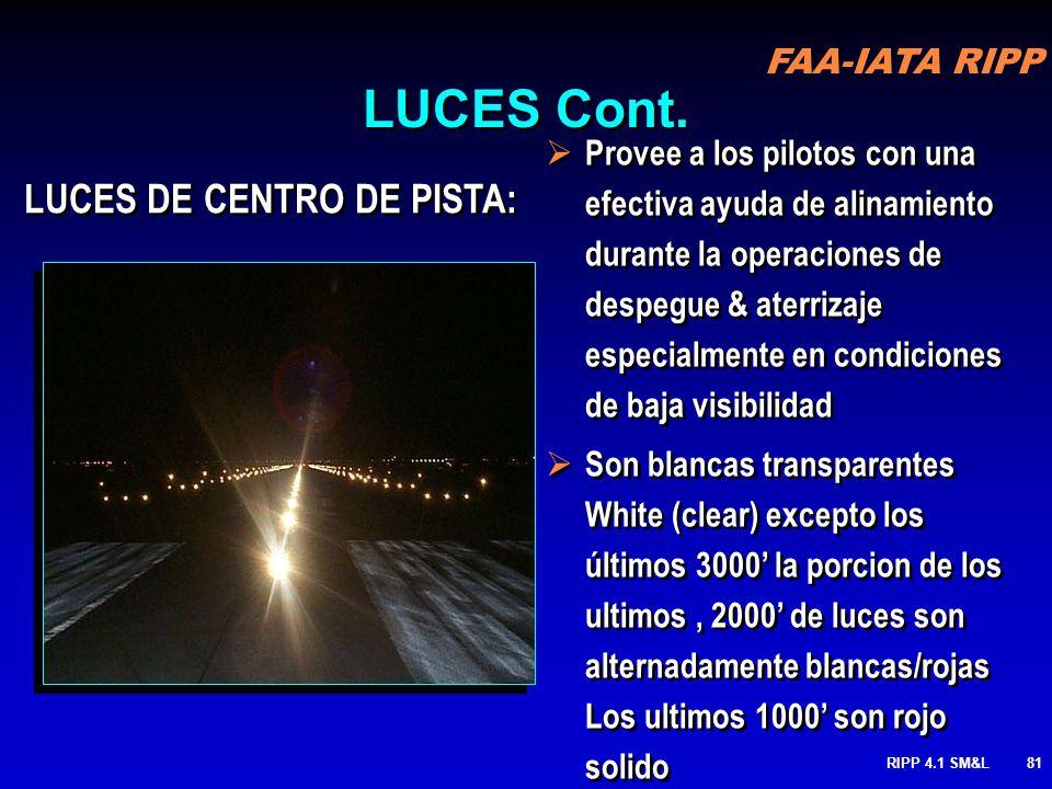 FAA-IATA RIPP RIPP 4.1 SM&L80 BORDE DE PISTA : Diseñadas para identificar los bordes de la pista utilizable de rodaje en la noche y durante periodos d