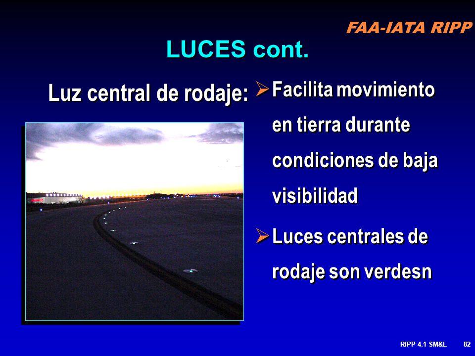 FAA-IATA RIPP RIPP 4.1 SM&L81 LUCES DE CENTRO DE PISTA: Provee a los pilotos con una efectiva ayuda de alinamiento durante la operaciones de despegue