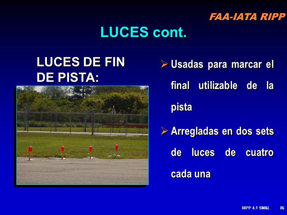 FAA-IATA RIPP RIPP 4.1 SM&L85 LUCES EMPOTRADAS EN PAVIMENTO GUARD: Suplementan las barras de mantener posición y las señales que alertan a los pilotos