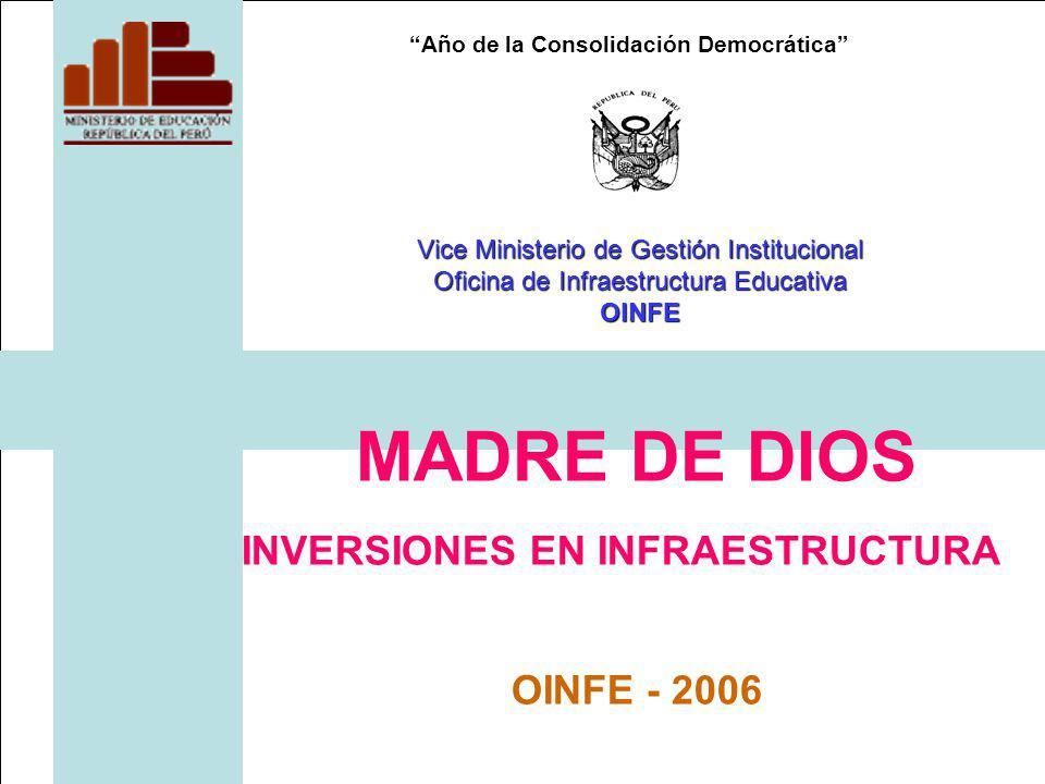 Año de la Consolidación Democrática MADRE DE DIOS INVERSIONES EN INFRAESTRUCTURA OINFE - 2006 Vice Ministerio de Gestión Institucional Oficina de Infraestructura Educativa OINFE