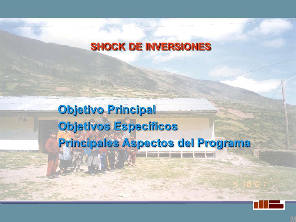 Objetivo Principal Objetivos Específicos Principales Aspectos del Programa Objetivo Principal Objetivos Específicos Principales Aspectos del Programa SHOCK DE INVERSIONES