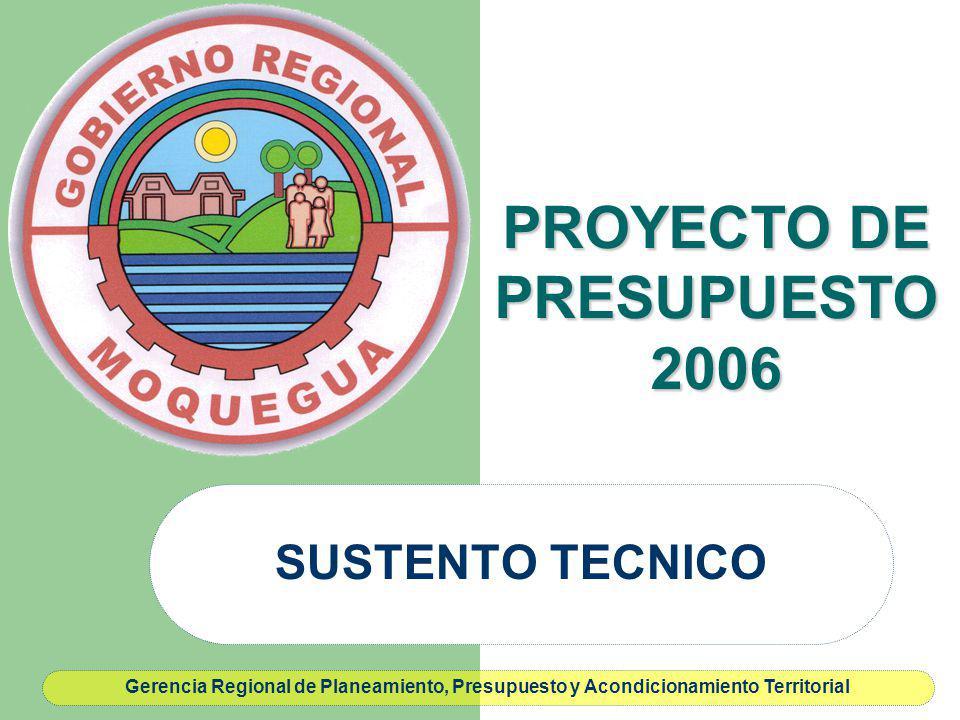 SUSTENTO TECNICO PROYECTO DE PRESUPUESTO 2006 Gerencia Regional de Planeamiento, Presupuesto y Acondicionamiento Territorial