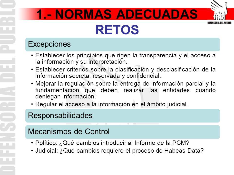 1.- NORMAS ADECUADAS RETOS Excepciones Establecer los principios que rigen la transparencia y el acceso a la información y su interpretación.
