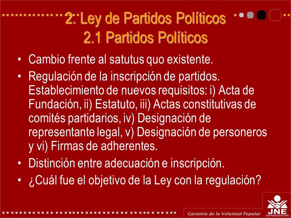 2. Ley de Partidos Políticos 2.1 Partidos Políticos Cambio frente al satutus quo existente. Regulación de la inscripción de partidos. Establecimiento