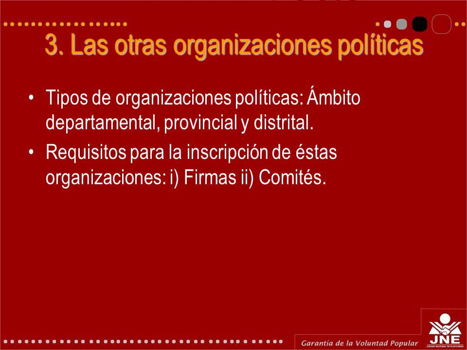 3. Las otras organizaciones políticas Tipos de organizaciones políticas: Ámbito departamental, provincial y distrital. Requisitos para la inscripción