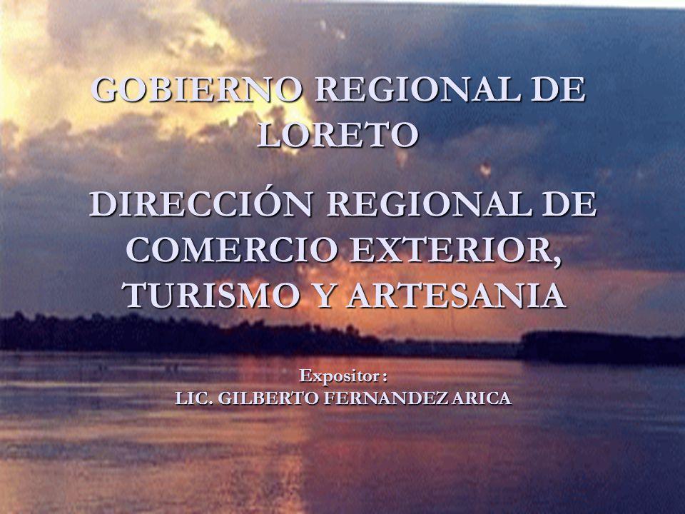 GOBIERNO REGIONAL DE LORETO DIRECCIÓN REGIONAL DE COMERCIO EXTERIOR, TURISMO Y ARTESANIA Expositor : LIC. GILBERTO FERNANDEZ ARICA