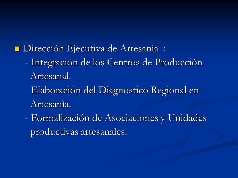 Dirección Ejecutiva de Artesanìa : Dirección Ejecutiva de Artesanìa : - Integración de los Centros de Producción - Integración de los Centros de Produ