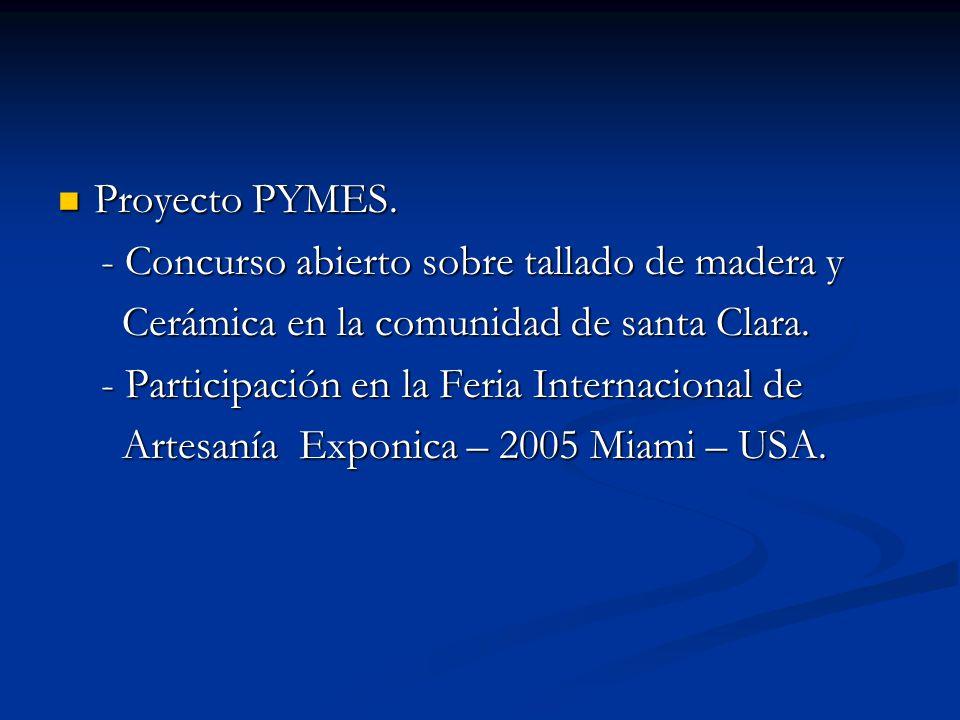 Proyecto PYMES. Proyecto PYMES. - Concurso abierto sobre tallado de madera y - Concurso abierto sobre tallado de madera y Cerámica en la comunidad de