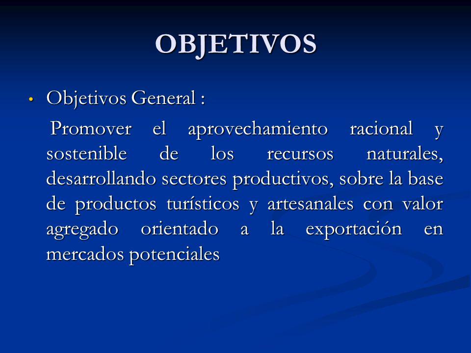 OBJETIVOS Objetivos General : Objetivos General : Promover el aprovechamiento racional y sostenible de los recursos naturales, desarrollando sectores
