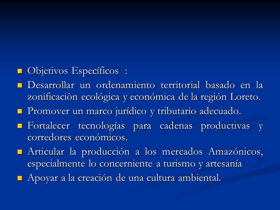 Objetivos Específicos : Objetivos Específicos : Desarrollar un ordenamiento territorial basado en la zonificaciòn ecológica y económica de la región L