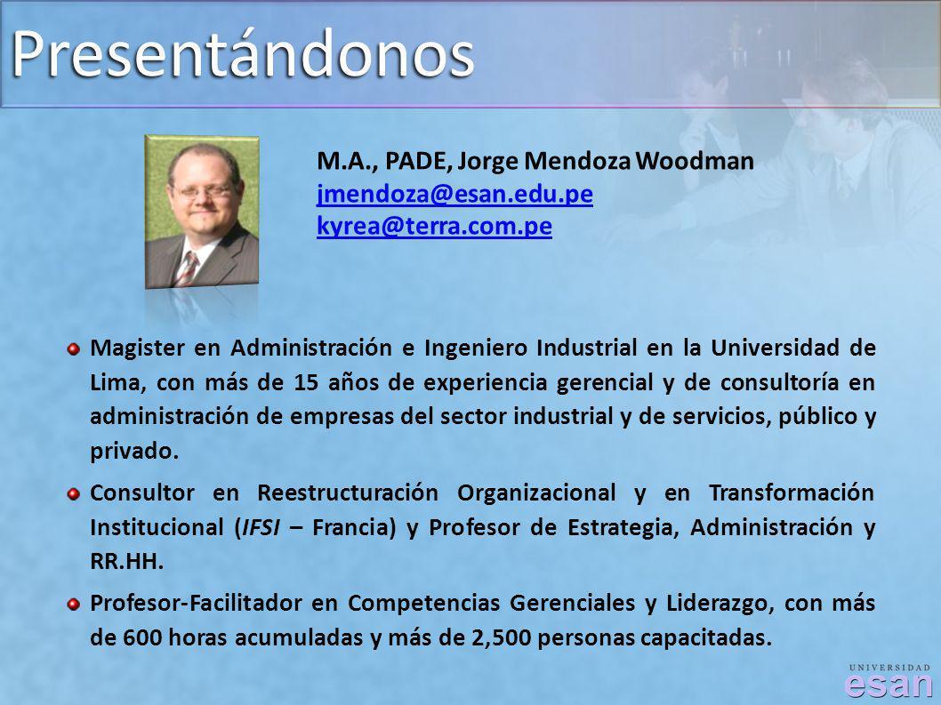 Presentándonos M.A., PADE, Jorge Mendoza Woodman jmendoza@esan.edu.pe kyrea@terra.com.pe Magister en Administración e Ingeniero Industrial en la Unive