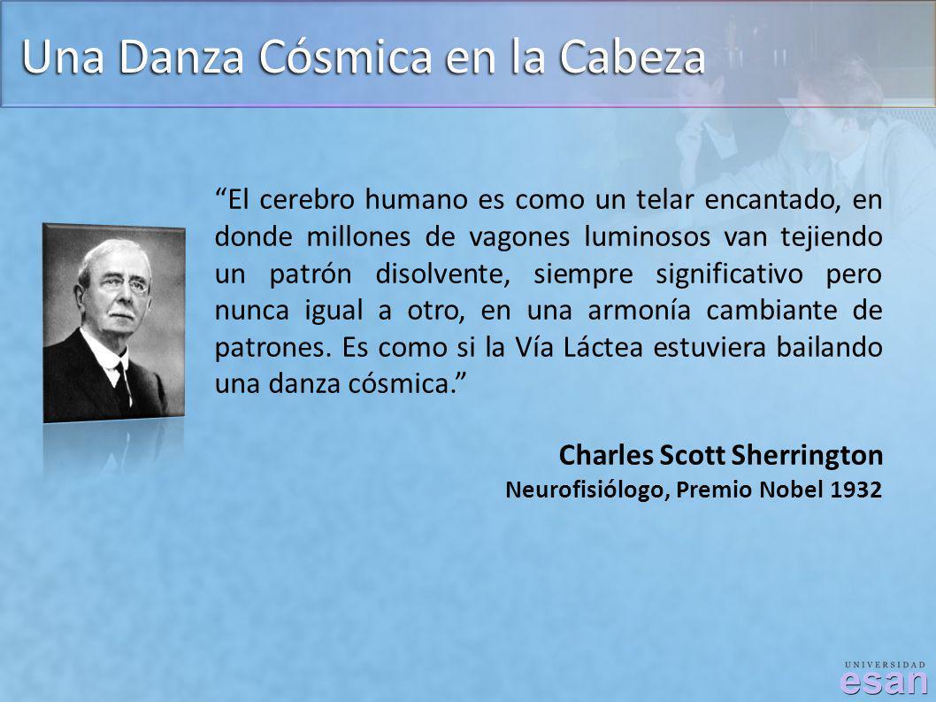 Una Danza Cósmica en la Cabeza Charles Scott Sherrington Neurofisiólogo, Premio Nobel 1932 El cerebro humano es como un telar encantado, en donde mill