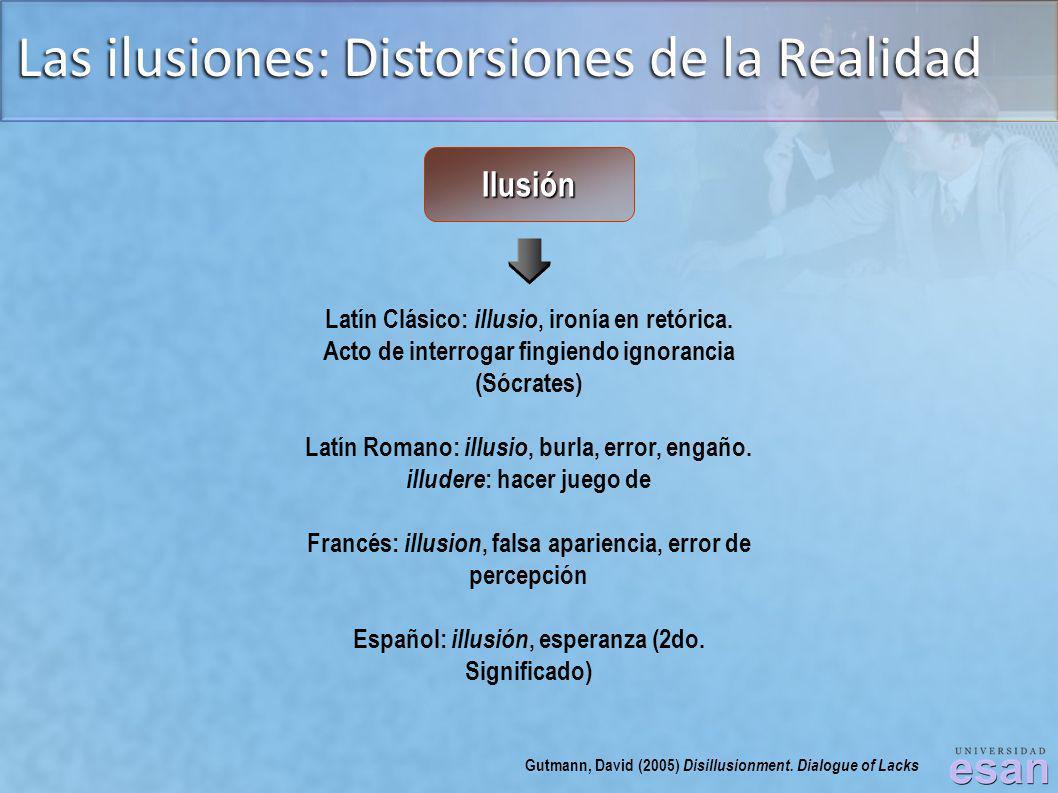 Las ilusiones: Distorsiones de la Realidad Latín Clásico: illusio, ironía en retórica. Acto de interrogar fingiendo ignorancia (Sócrates) Latín Romano