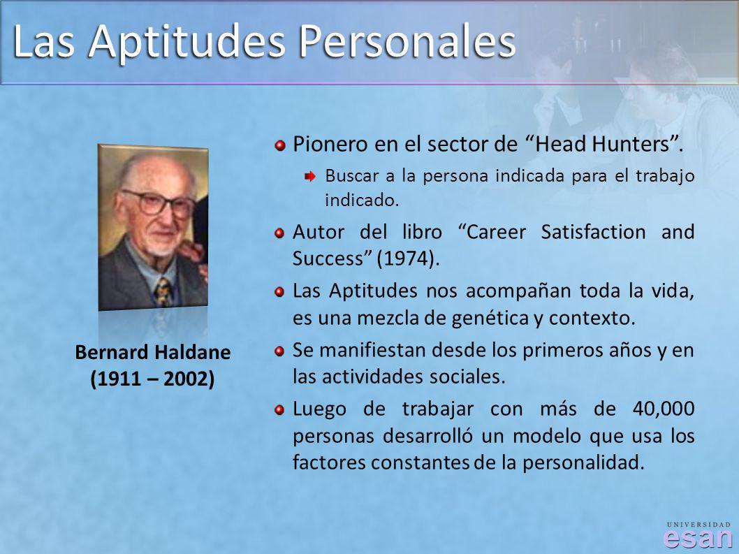 Las Aptitudes Personales Bernard Haldane (1911 – 2002) Pionero en el sector de Head Hunters. Buscar a la persona indicada para el trabajo indicado. Au