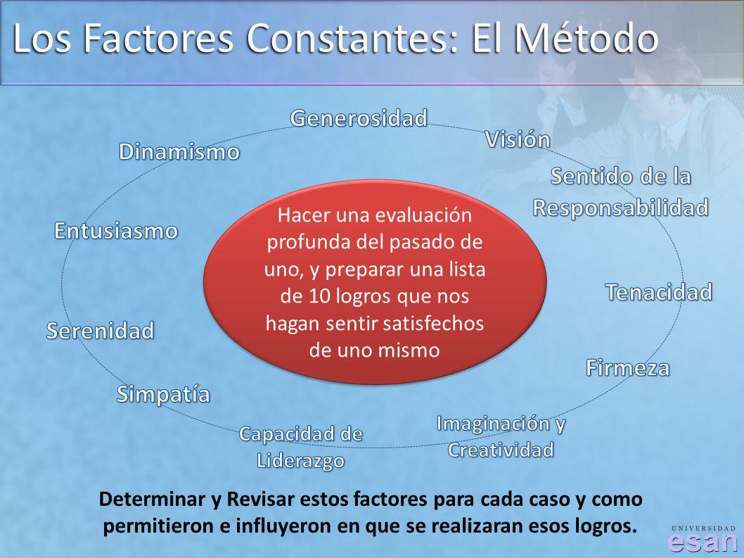 Los Factores Constantes: El Método Hacer una evaluación profunda del pasado de uno, y preparar una lista de 10 logros que nos hagan sentir satisfechos