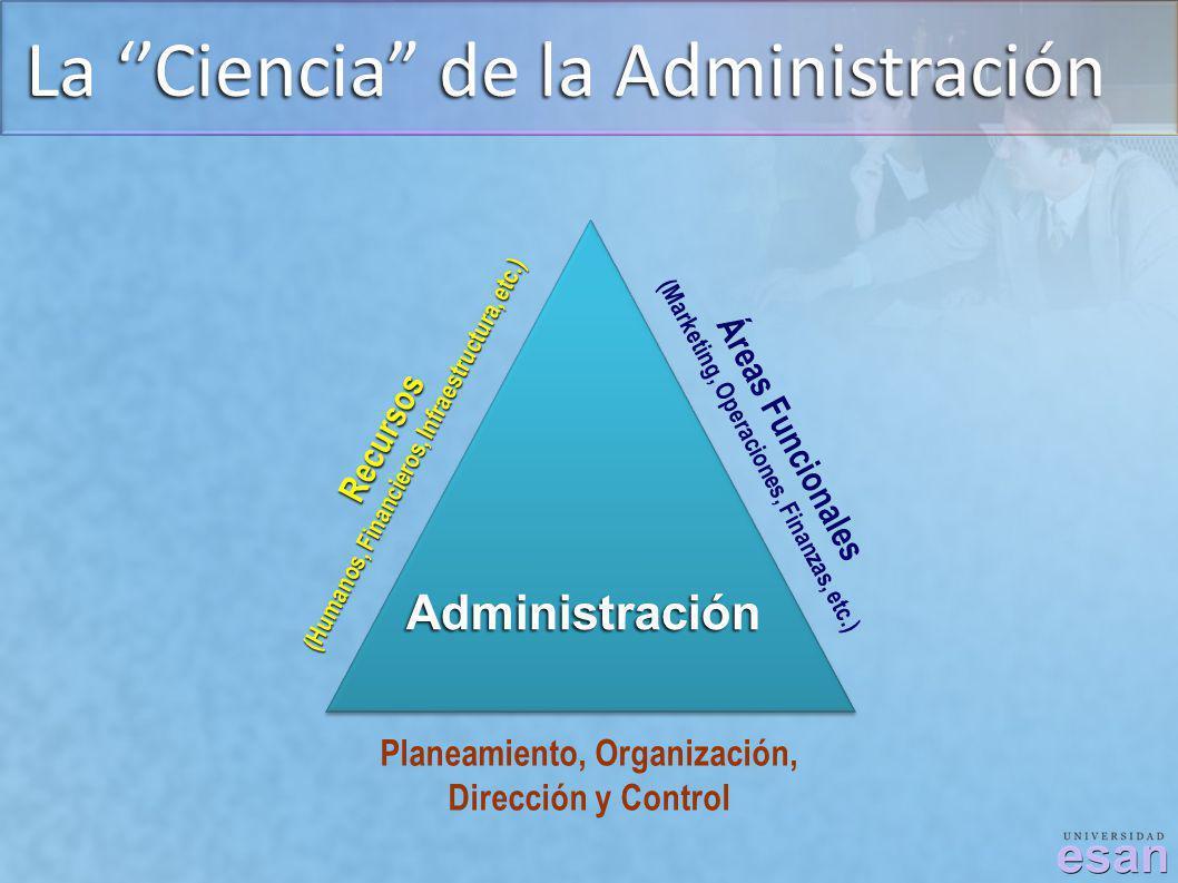La Ciencia de la Administración Planeamiento, Organización, Dirección y Control Recursos (Humanos, Financieros, Infraestructura, etc.) Áreas Funcional