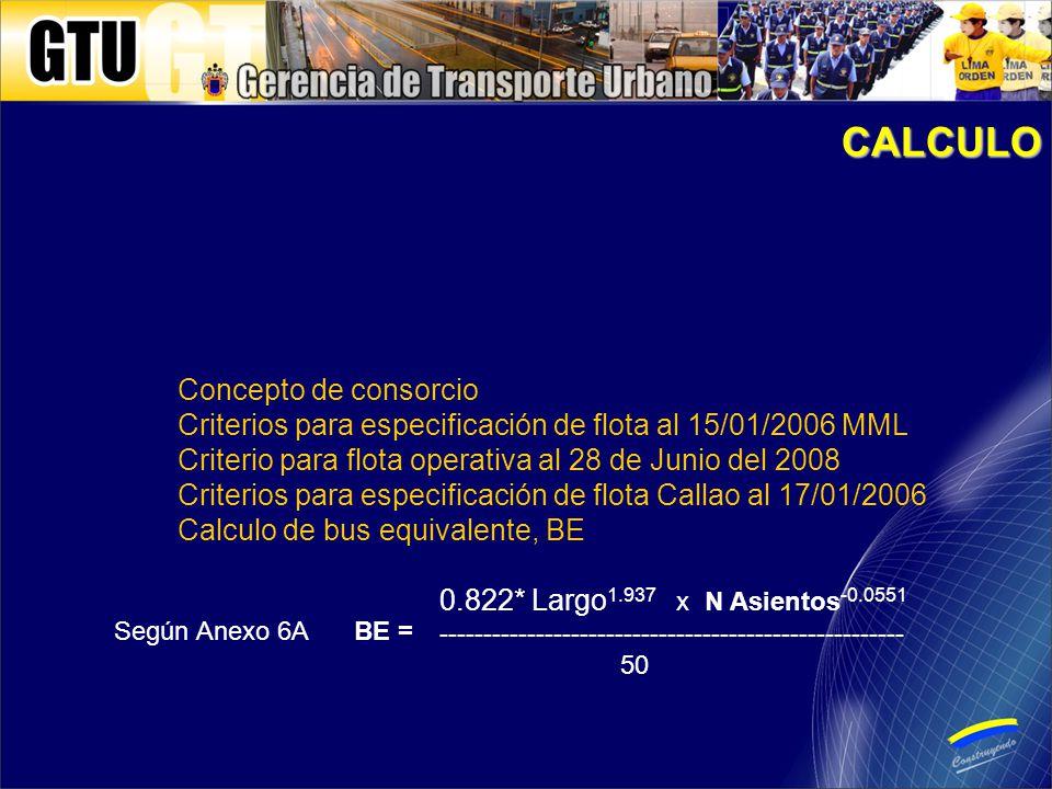 Concepto de consorcio Criterios para especificación de flota al 15/01/2006 MML Criterio para flota operativa al 28 de Junio del 2008 Criterios para especificación de flota Callao al 17/01/2006 Calculo de bus equivalente, BE 0.822* Largo 1.937 x N Asientos -0.0551 ----------------------------------------------------- 50 CALCULO BE = Según Anexo 6A