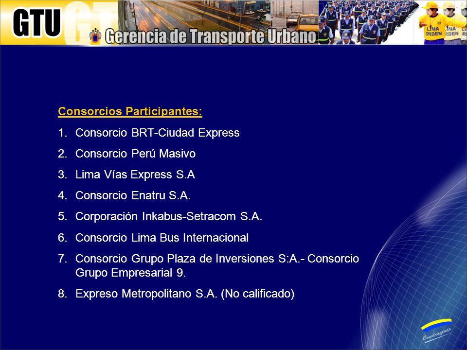 Consorcios Participantes: 1.Consorcio BRT-Ciudad Express 2.Consorcio Perú Masivo 3.Lima Vías Express S.A 4.Consorcio Enatru S.A.