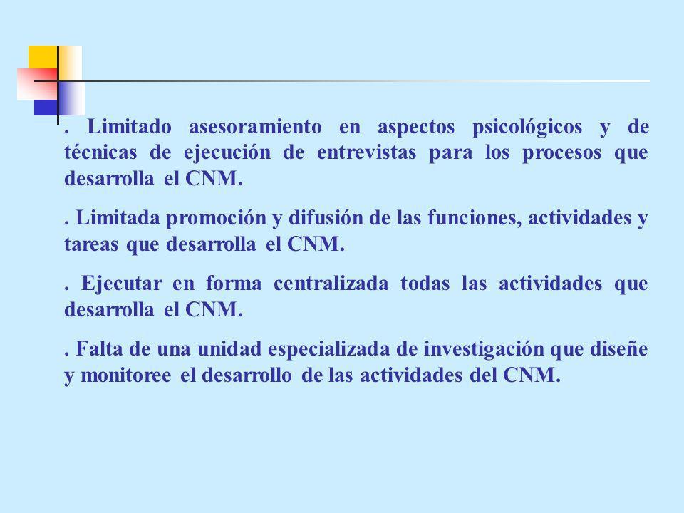 Limitado asesoramiento en aspectos psicológicos y de técnicas de ejecución de entrevistas para los procesos que desarrolla el CNM..