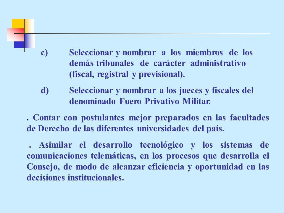 c)Seleccionar y nombrar a los miembros de los demás tribunales de carácter administrativo (fiscal, registral y previsional).