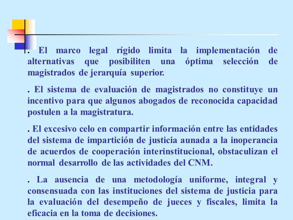 El marco legal rígido limita la implementación de alternativas que posibiliten una óptima selección de magistrados de jerarquía superior..