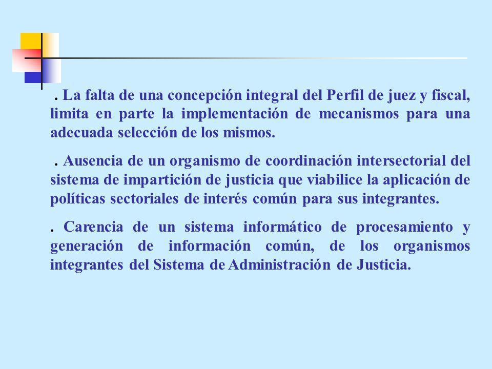 La falta de una concepción integral del Perfil de juez y fiscal, limita en parte la implementación de mecanismos para una adecuada selección de los mismos..
