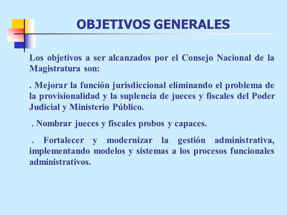 OBJETIVOS GENERALES Los objetivos a ser alcanzados por el Consejo Nacional de la Magistratura son:.