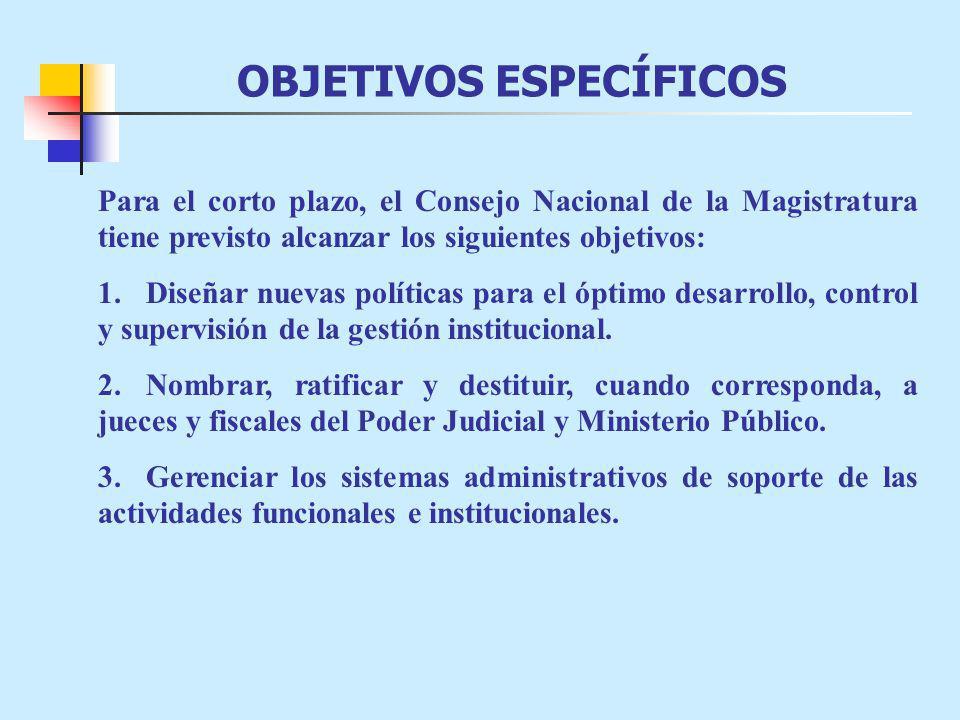 OBJETIVOS ESPECÍFICOS Para el corto plazo, el Consejo Nacional de la Magistratura tiene previsto alcanzar los siguientes objetivos: 1.Diseñar nuevas políticas para el óptimo desarrollo, control y supervisión de la gestión institucional.