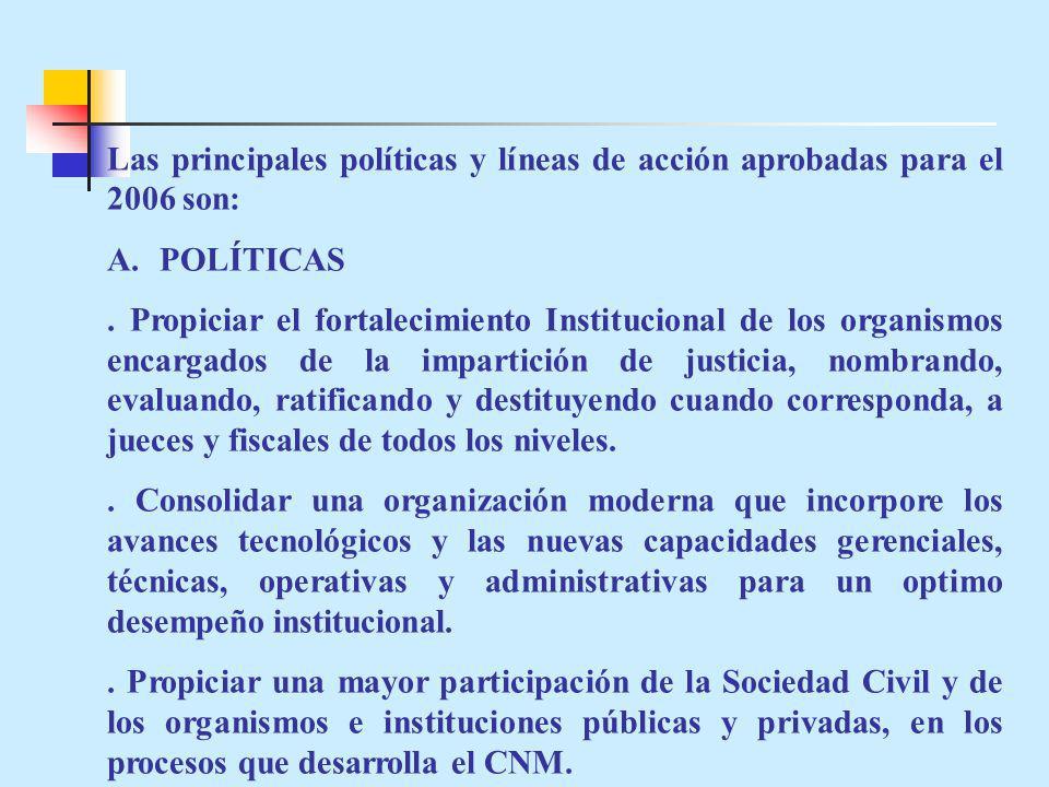 Las principales políticas y líneas de acción aprobadas para el 2006 son: A.POLÍTICAS.