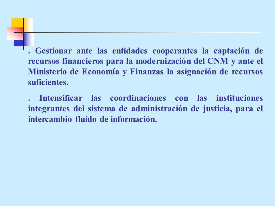 Gestionar ante las entidades cooperantes la captación de recursos financieros para la modernización del CNM y ante el Ministerio de Economía y Finanzas la asignación de recursos suficientes..