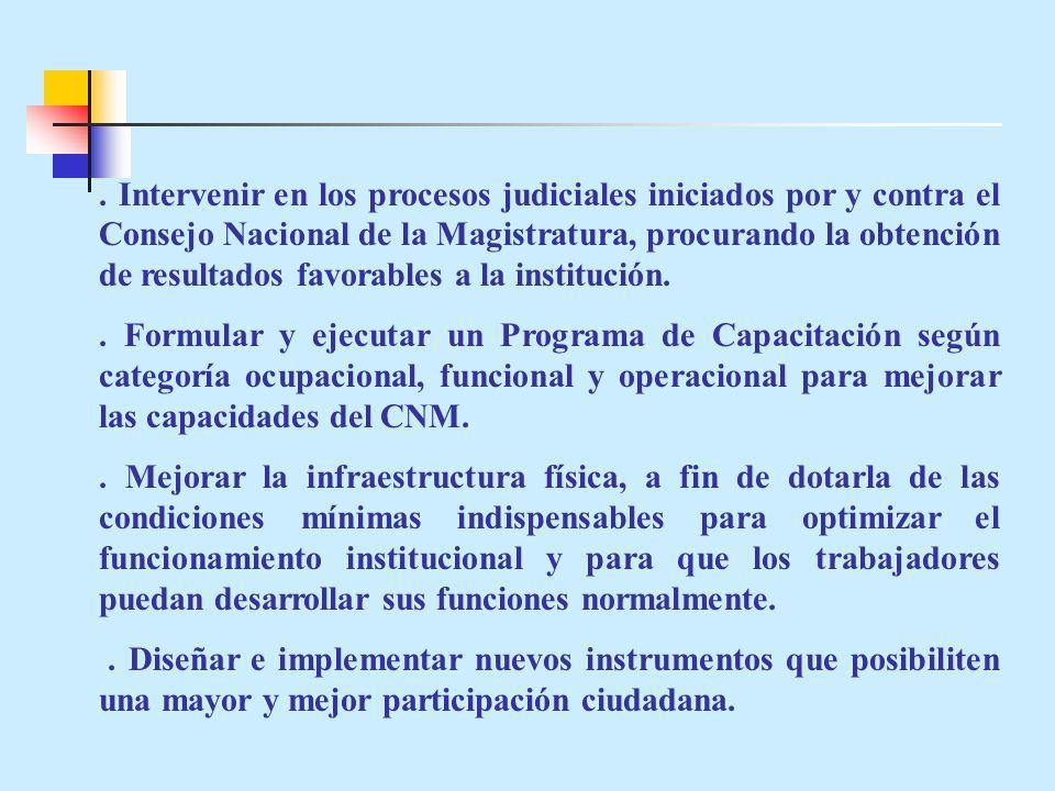 Intervenir en los procesos judiciales iniciados por y contra el Consejo Nacional de la Magistratura, procurando la obtención de resultados favorables a la institución..