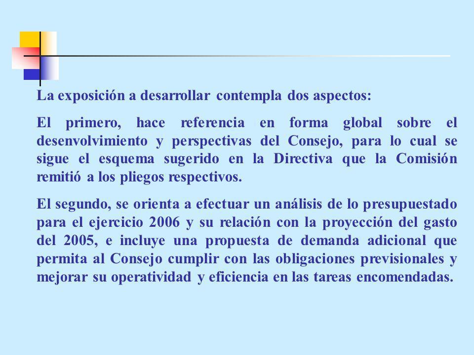 La exposición a desarrollar contempla dos aspectos: El primero, hace referencia en forma global sobre el desenvolvimiento y perspectivas del Consejo, para lo cual se sigue el esquema sugerido en la Directiva que la Comisión remitió a los pliegos respectivos.