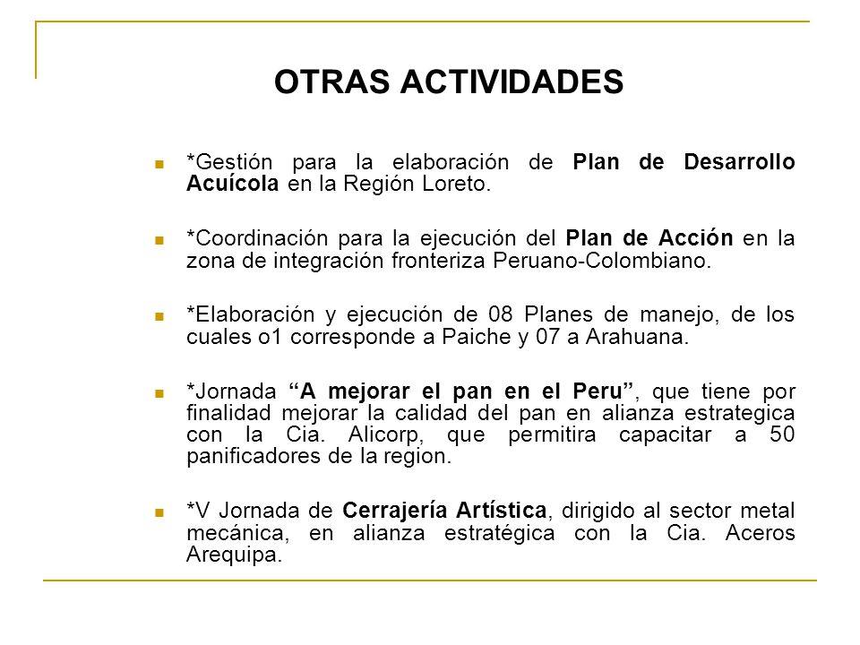 *Gestión para la elaboración de Plan de Desarrollo Acuícola en la Región Loreto. *Coordinación para la ejecución del Plan de Acción en la zona de inte